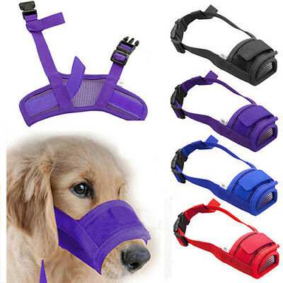 Dog Pet Adjustable Mask Bark Bite Mesh Mouth Muzzle Grooming Anti Stop Chewi DO
