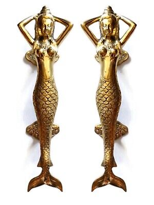 "2 polished MERMAID 100% brass door PULL old style heavy house PULL handle 13"" B"