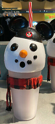 Disney Parks Snowman with Mickey Mouse Ears Hat Light Up Sipper Cup NEW
