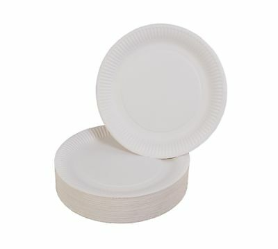 100er-Set Paper Plate White Ø23cm Single Use Dishes Snack Party Catering