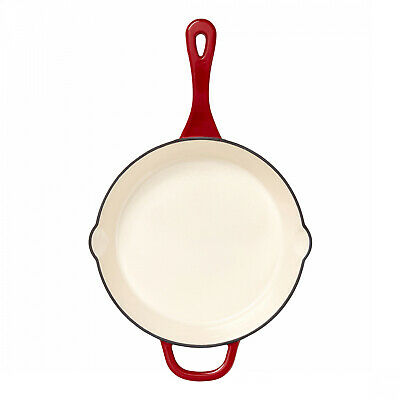 Red Cast Iron Skillet 10 In. Heavy Duty Durable Frying Pan Home Kitchen Use