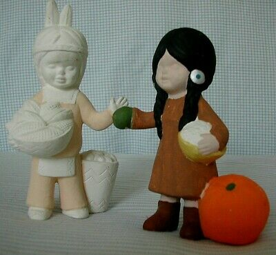Set of Unfinished CERAMIC Thanksgiving Young Couple Pumpkin Corn Harvest
