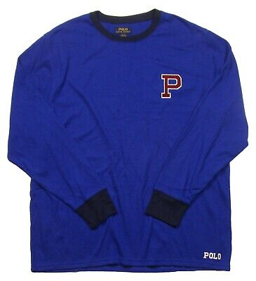 Polo Ralph Lauren Men's Blue P Patch Waffle Knit Thermal Crew-Neck T-Shirt