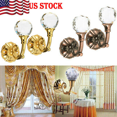 2x Large Metal Crystal Glass Curtain Holdback Wall Tie Back Hooks Hanger Holder