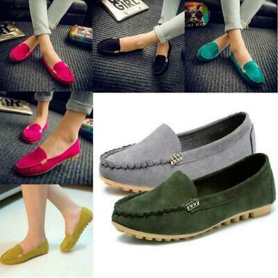 Ladies Moccasin Suede Pumps Casual Loafers Women Flat Slip On Shoes Size Comfy