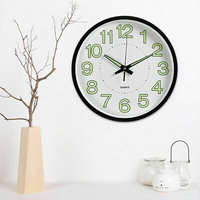 30cm Quartz Wall Clock Silent Night Light Home Decor Round Number Time L1O6J