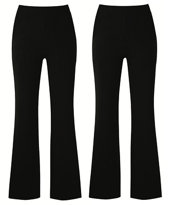 Ladies Pack Of 2 Bootleg Trousers Women Stretch Soft Finely Ribbed Pullon Bottom