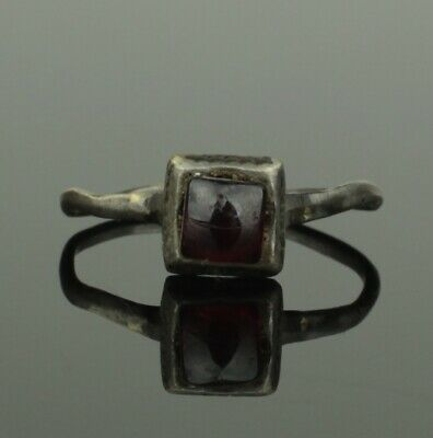 ANCIENT MEDIEVAL SILVER & GARNET RING - CIRCA 12th/14th Century AD