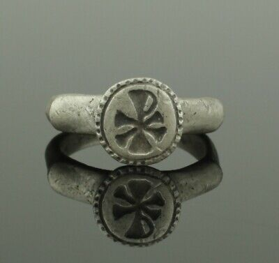 ANCIENT ROMAN SILVER CHI-RHO RING - 2nd Century AD