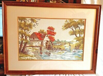 Finished Cross Stitch Water Wheel Mill Building Near Bridge Country Scene