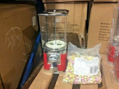 20p Coin Operated Red Retro Sweet Vending Machine Inc 3kg Mini Eggs (NEW)