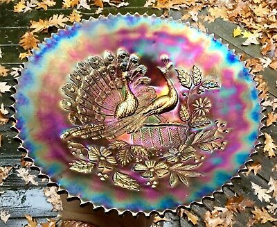 Carnival Absolutely Gorgeous Northwood Purple Peacocks On The Fence Plate