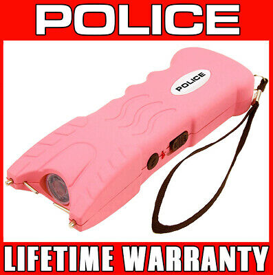 POLICE 916 Stun Gun LED Flashlight Rechargeable With Safety Pin - Pink
