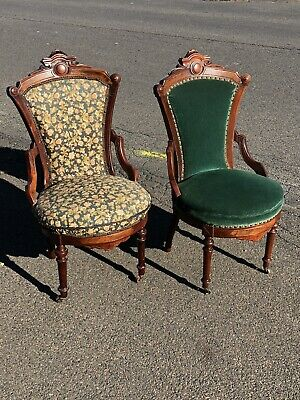 Pair Of Matching Victorian Renaissance Walnut And Burlwood Parlor Chairs