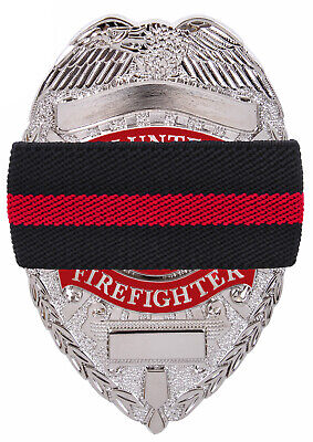 Black Thin Red Line Elastic Fire Dept Badge Mourning Tape Rothco 1006