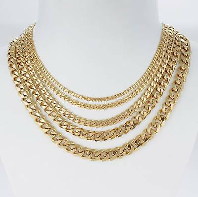 3/5/7/9/11mm Mens Stainless Steel Necklace Bracelet Cuban Curb Chain Gold Link