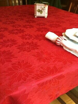 Bardwil Winter Joy Red Damask Poinsettia Tablecloth 60 x 84 Christmas New