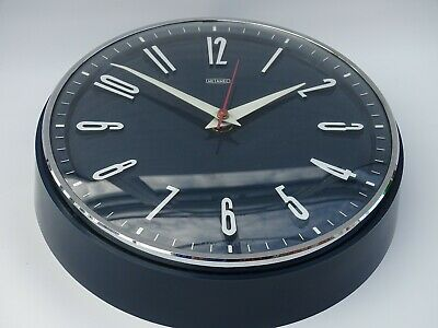 Rare Vintage 1960s Metamec  battery Wall Clock midnight blue mcm silver VGC