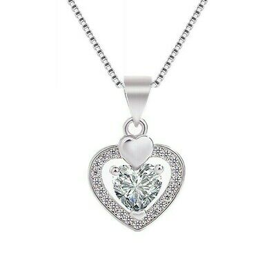 Heart Charm Smooth Pendant 925 Sterling Silver Chain Necklace Womens Jewellery