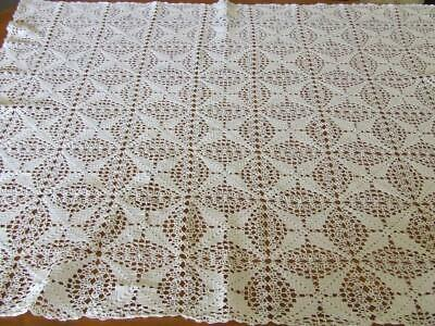 Beautiful White Vintage Hand Crocheted Table Suppercloth - 90 x 80 cm