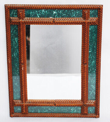 Vintage Wood Tramp Art Mirror Faux Marbled Glass - Chip Carvng - Folk Dated 1961