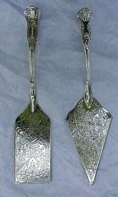 Vintage Pastry & Pie/Cake Servers With Ornate Kings Pattern Silver Plated