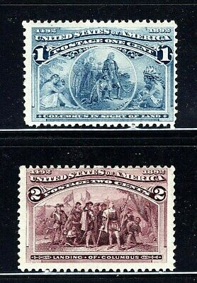 [DF]   US #230 &231 MNH 1893 1c + 2c 'Columbian Exposition' Stamps...Ships Free!
