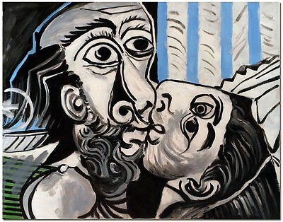 "The Kiss - 20x16"" Hand Painted Pablo Picasso Oil Painting On Canvas Wall Art"