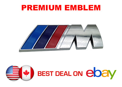 BMW Premium Logo Emblem - M Sport Logo for Trunk with Self Adhesive (Chrome)
