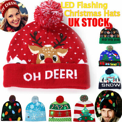 LED Christmas Hat Knitted Beanie Kids Winter Pom Pom Flashing Light Up Xmas Caps