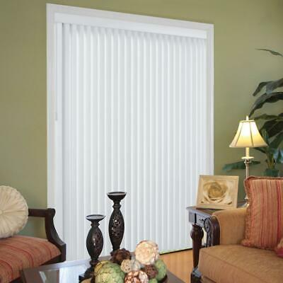 Faux Wood Vertical Blinds White w/ 3-1/2 in. Slats Valance Louvers Headrail New