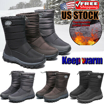 Women's Winter Warm Snow Boots Fur Lined Outdoor Waterproof Ski Mid Calf Shoes