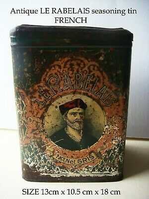 French Antique Le Rabelais food seasoning advertising tin late 19th century