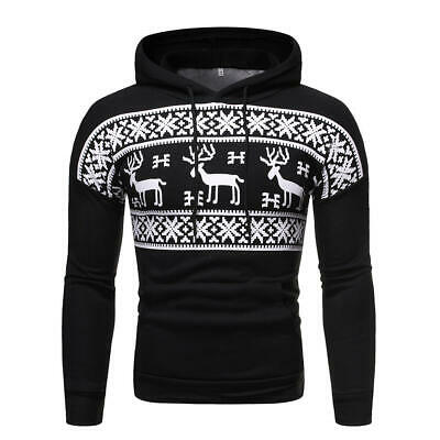 Christmas hooded  casual  deer  fashion  New  printed  Pullover  men's  sweater