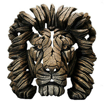 LION Contemporary Sculpture Hand Crafted and Painted Edge Sculpture Bust