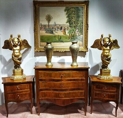 Italian Louis XVI Commode And Night Tables In Walnut 18th Century