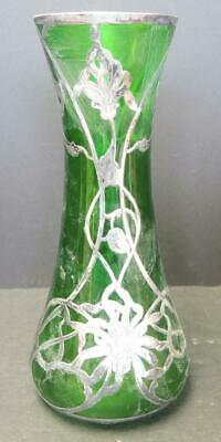 "Antique Art Nouveau Emerald Green Sterling Overlay 12"" Vase"