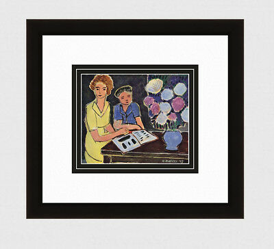"""Charming 1948 HENRI MATISSE Antique Print """"Girls with Peonies"""" Framed SIGNED COA"""