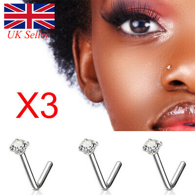 3Pcs Crystal Nose Stud Silver Straight Thin Nose Pin Straight L Shape Jewelry UK