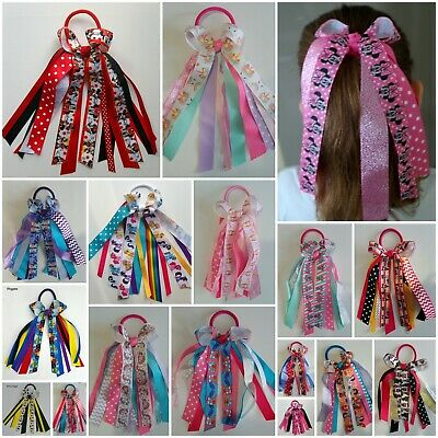 HAIR BOW RIBBONS PONYTAIL ELASTIC MINNIE PONY PEPPA LOL DOLL FROZEN BARBIE more
