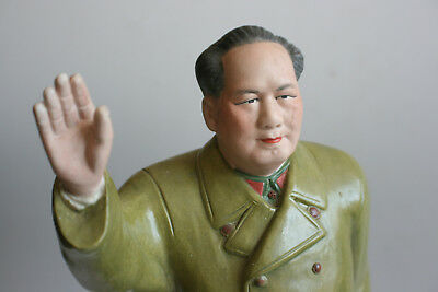 Large 20th C 1950s Chinese Porcelain Carved Painted Chairman Mao Figure Statue