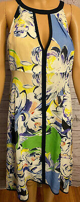 Adrianna Papell Womens Abstract Floral Sleeveless Dress Multi Colored Size 6 NWT