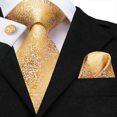 USA Yellow Gold Floral Men's Tie Woven Silk Necktie Set Hanky Cufflinks Wedding