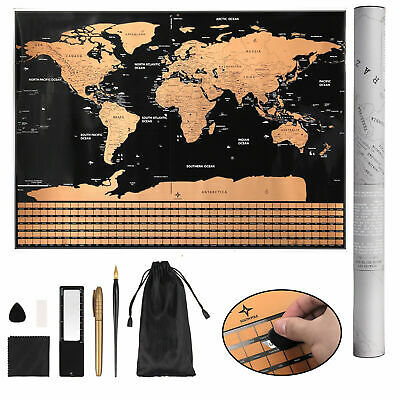 Large Size Scratch Off World Map Poster Travel Vacation Log Christmas Gift Decor