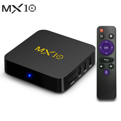 MX10 4K Mini RK3328 Android 9.0 TV Box 4G+32G/64G 2.4G WiFi Media+Tastiera