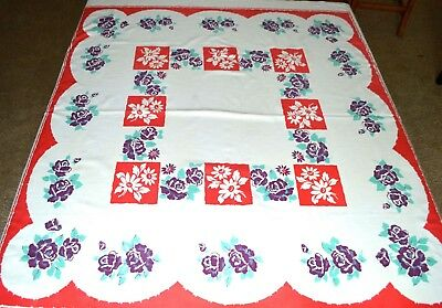 VINTAGE 1940s TABLECLOTH RED WHITE PURPLE ROSES DAISIES LARGE FLORALS 56X52 INCH