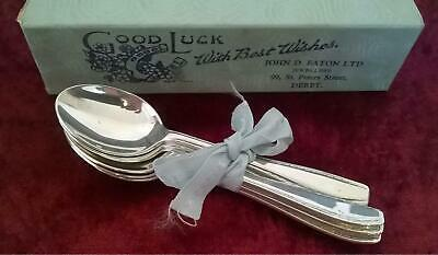 Lovely set of 6 x Silver Plated Good Luck Teaspoons Coffee Spoons EPNS A1 Boxed