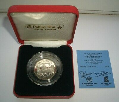 SILVER PROOF 1991 ISLE OF MAN CHRISTMAS 50p COIN IN CASE - UNC IoM MANX XMAS CoA