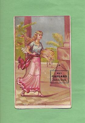 Lovely LADY On GARLAND STOVES Of LOCKPORT, NY 1892 Victorian Trade Card