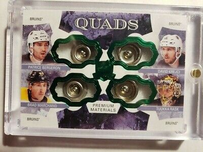 17-18 UD The Cup Quads Green Button Parallel bergeron/krejci/rask/Marcha 1/1